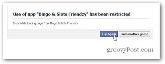 bingo slots friendzy facebook restricted