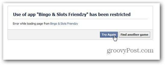 bingo slots friendzy facebook restricted