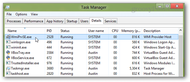 wmiprvse in windows 8 task manager
