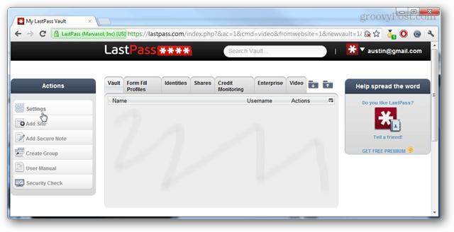 LastPass control panel