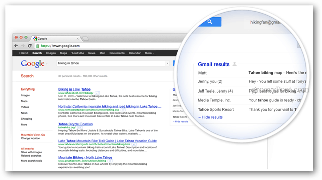 gmail results in google search