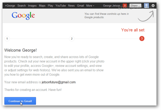 continue to gmail