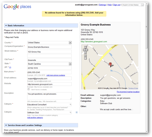 create a new google maps local listing