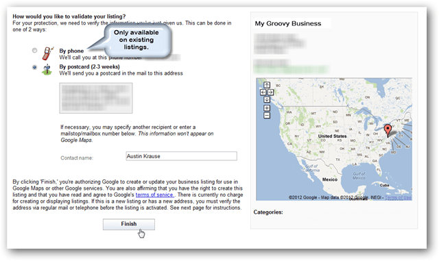 google maps verify by phone or postcard