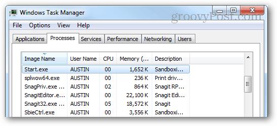 start.exe running in the task manager