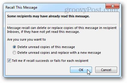 recall options