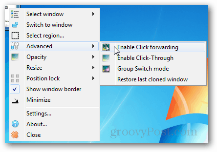 enable click forwarding