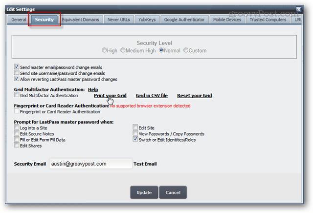 Edit Settings Security Tab print grid