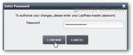 confirm master password