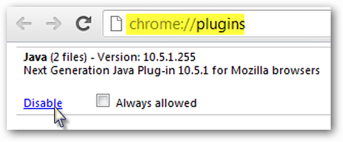 disable java in chrome