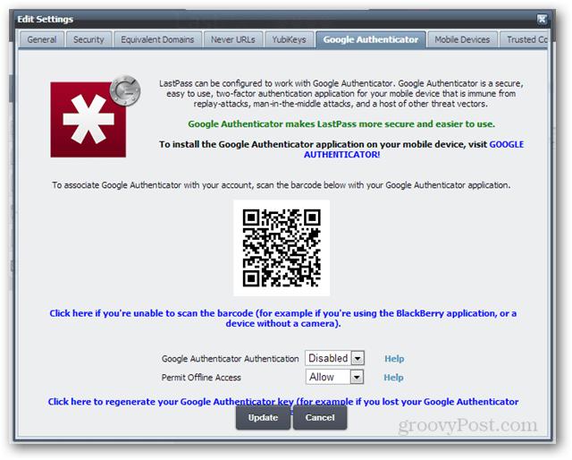lastpass google authenticator security code