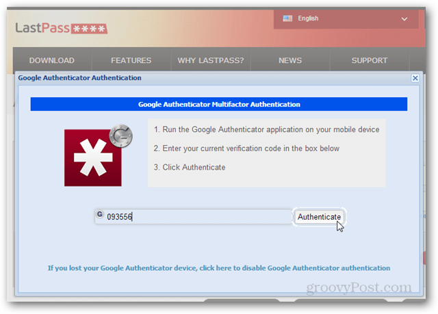 lastpass 2 step login with google authenticator