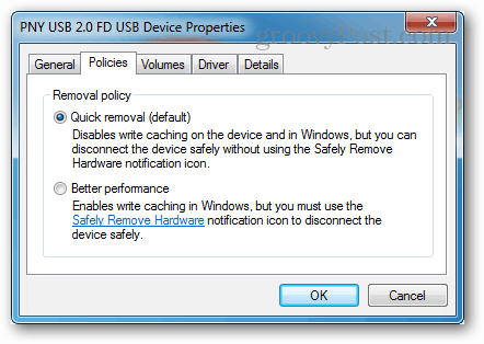 write caching policies for usb devices