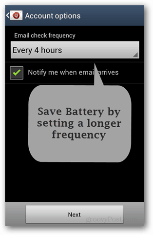 android email check frequency