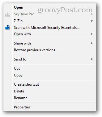 context menu clean