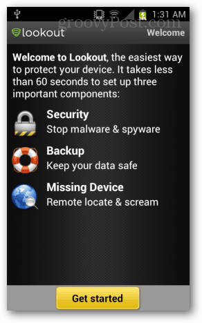 Lookout mobile security setup