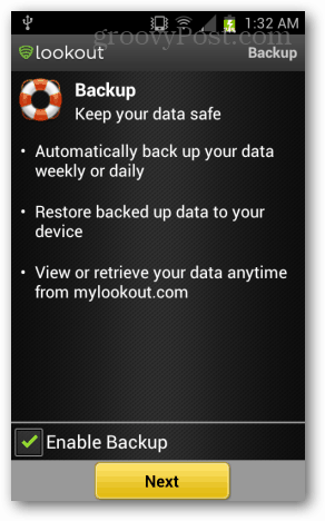 lookout mobile backup