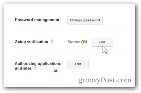 google one time passwords - click edit