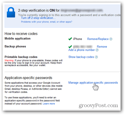google one time passwords - click manage application-specific passwords
