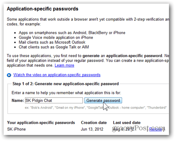 google one time passwords - click generate password