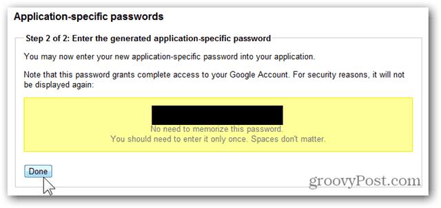 google one time passwords - copy password
