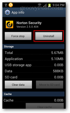 uninstall norton security for android