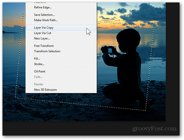 layer via copy context menu selection photoshop
