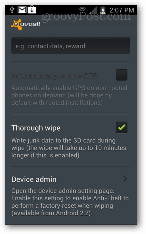 automatically enable gps and thorough sd card wipe