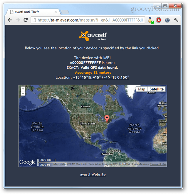 avast online gps coordinates of phone location