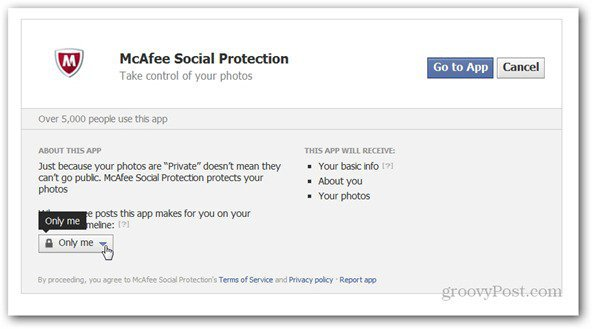 mcaffee social protection permissions