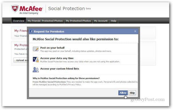 mcaffee social protection permissons facebook