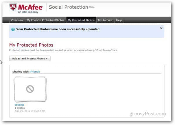 mcaffee social protection protected albums