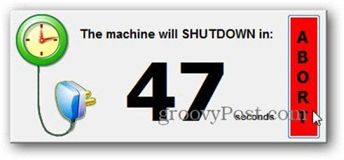 timed shutdown abort countdown