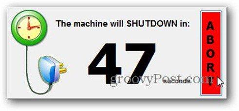 timed shutdown abort countdown