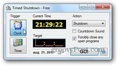 timed shutdown clock