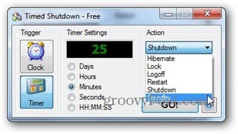 timed shutdown shutdown options