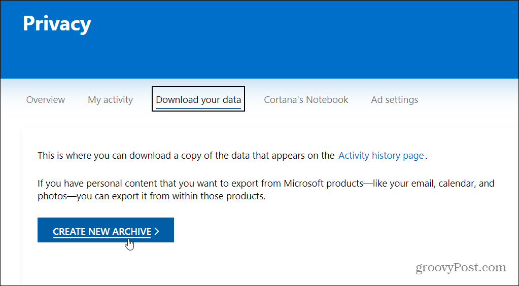 download your data from MSFT