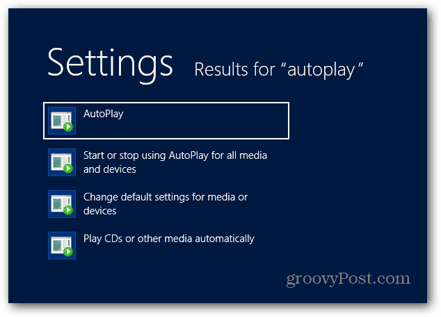 AutoPlay under Search