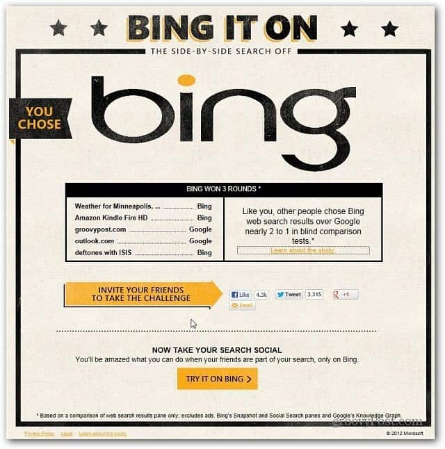 Bing it On choice