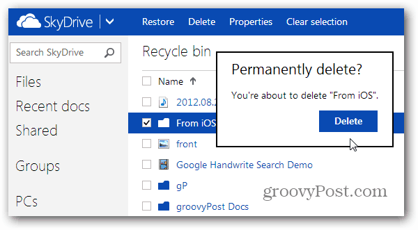 Delete from Recycle Bin