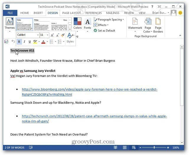 Document Opened in Word 2013