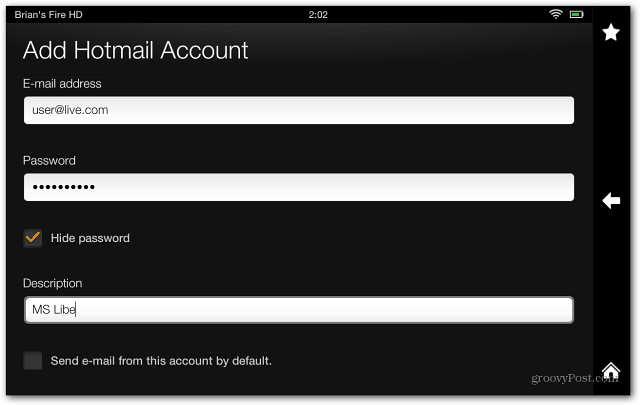 Enter Email Account Info