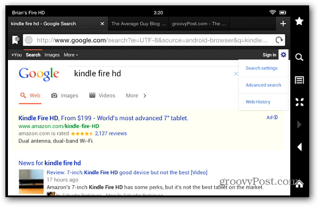 Google Search Kindle Fire HD