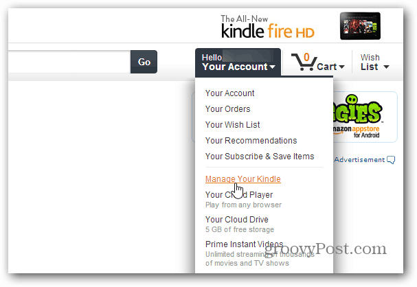 Manage Kindle Menu