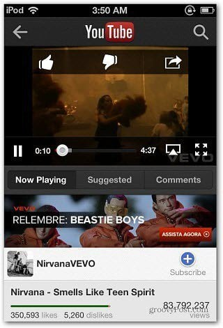 Nirvana New YouTube App