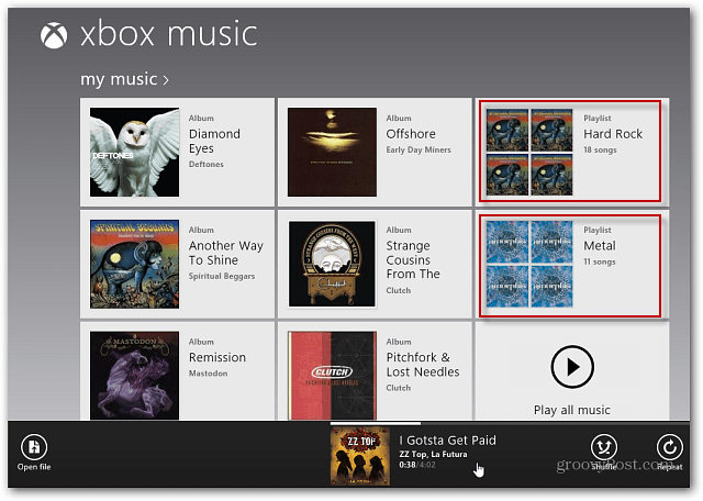 Playlist displayed on Xbox Music