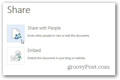 Share with People or Embed