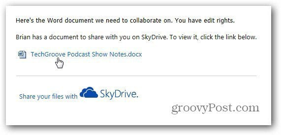 Shared Document email