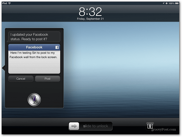 Siri Post to Facebook
