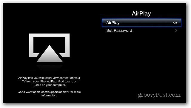 Turn AirPlay on Apple TV